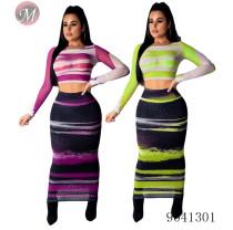 9041301Women mesh printed long sleeve two piece bodycon dress