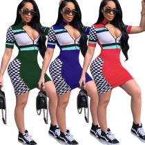 WNAK8555 sexy short sleeve sheath zipper front checkered cheerleader dresses WNAK8555