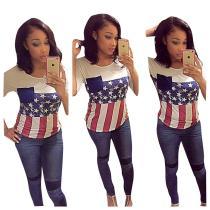 women's casual american flag printed short sleeve t shirt FNDN8101