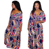 women's sexy  v-neck geometric stripe dress ARM8032
