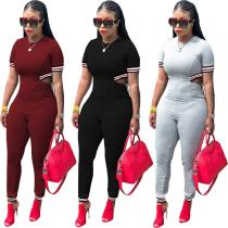 9031215 2019 Hot sale ribbon solid short sleeve long pants jumpsuit