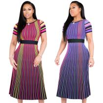 9032110 2019 New design colorful striped short sleeve O neck midi dress