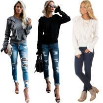 women's solid long sleeve ruffles t shirt MDY031