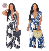9041414 Women deep V band printed wide leg jumpsuit