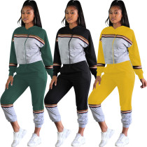 women casual hooded top and pencil pants two piece set outfit OPL5277