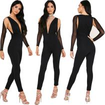 MDY022 fashion ladies bodycon bandage black sexy jumpsuit