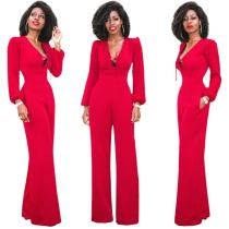 MDY043 red solid wide leg elegant jumpsuits for women
