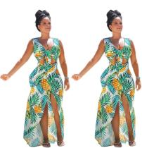 9040503 Summer women pineapple print dress with a slit in the front