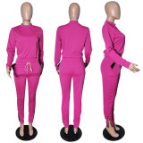 9040124 fashion solid top and pants outfits two piece set women clothing