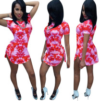 9040805 Summer casual printed short sleeve mini dress