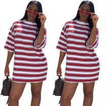 9040505 Loose casual striped t shirt dress women clothing