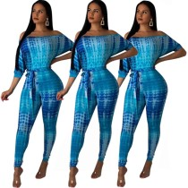 PY8254 Fashionable color position printing pattern off shoulder jumpsuit with belt 2019 PY8254
