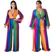 9031107sexy rainbow printed v neck sleeveless cut out wide leg women sexy jumpsuits