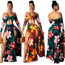 9031816  Women's  digital floral print slit and long sleeves strapless dress