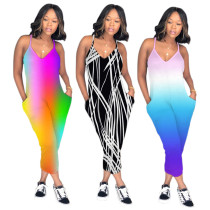 MDY101 rainbow summer jumpsuits for women