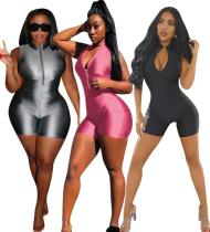 9031211 New design sexy solid sleeveless zipper clubwear women club jumpsuit