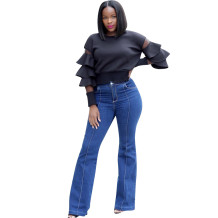 women fashion black solid patch ruffle sleeve t shirt MVL9037