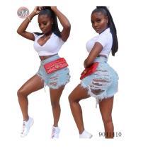 9041410 Hot sale slitted high waist women denim shorts