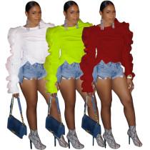 women fashion solid long sleeve ruffles t shirt PN6078