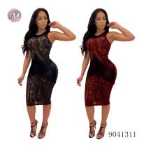 9041311 Mesh sequins see-through tassel sleeveless women club midi dresses