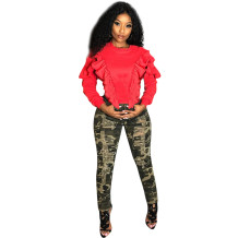 women fashion red solid long sleeve t shirt with ruffles MTY6110