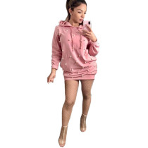 CQ5110 latest pearls beaded pink hoodie dress women for autumn