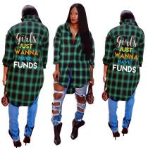 women casual green plaid letter polo long blouse FNDN8165