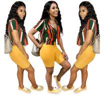 women fashion stripe print short blouse WNAK8637
