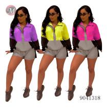 9041318 Fashion women reflective contrast color sport suit