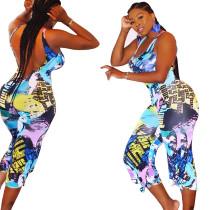 9040213 Women sleeveless oil paint graffiti printing jumpsuits