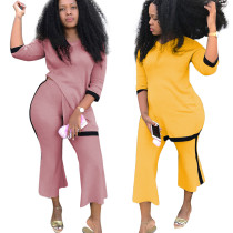 women fashion half sleeve top and flare pants 2 piece set OPL5272