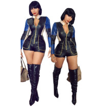 FNDN8182 women fashion pu faux leather long sleeve jumpsuits and rompers FNDN8182
