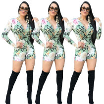HM6035 women's casual long sleeve deep v-neck printed  jumpsuit for streetwear  HM6035