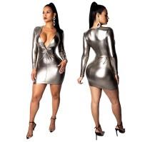 TYA7037 women fashion sexy cleavage shiny bandage bodycon dress TYA7037