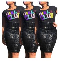 2019 women fashion o neck short sleeve letter appliques with sequined t shirt YMT6057