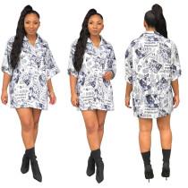 ASGL6070 latest design casual loose newspaper print shirt dress ASGL6070