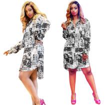 MSM801 women fashion button up long sleeve newspaper shirt dress MSM801