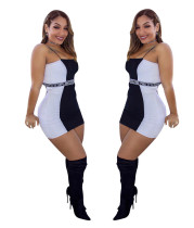 Condole belt black and white letter printed dress LTS3016