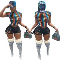 9040812 Women's fashion rainbow striped short t shirt