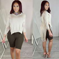 women casual solid ripped long tail sweater WNAMY036