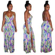 9041005 Sexy printed deep V backless summer dress