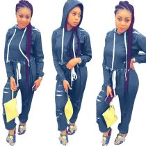 women fashion denim jeans hooded scratched two piece set outfit FNDN8156