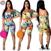 9041220 Women off shoulder print crop top two piece set outfits