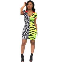Fashion sexy zebra-stripe V-neck women's dress