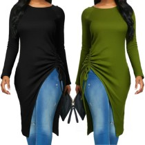 PY8220 Hot style long sleeve top in solid color with irregular straps PY8220