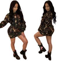 WNAK8538 Wholesale hot women's camouflage hooded long sleeve dress WNAK8538