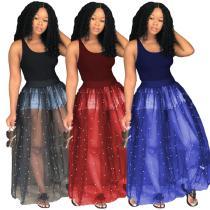 MSM766 sexy mesh beaded transparent long flared women dresses
