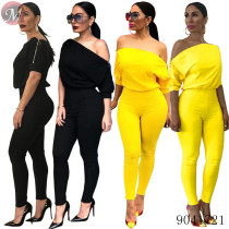 9041721 Women double -end zipper slanted shoulder pure color jumpsuit