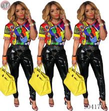 9041705 Fashion printed short sleeve t shirt women summer causal top