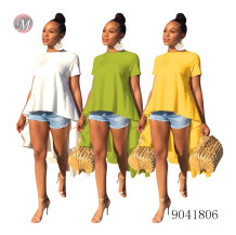 9041806 3 colors women t shirt with irregular short front and long back